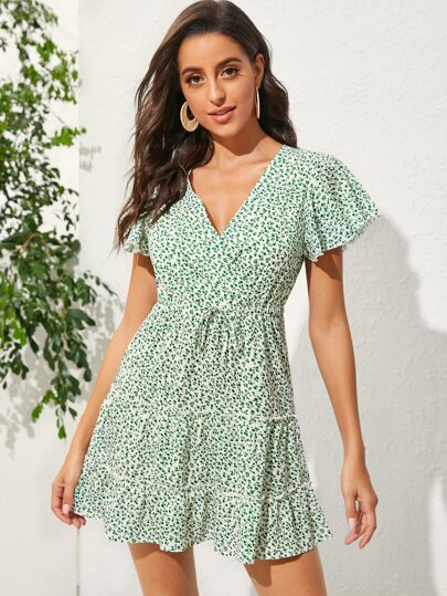 V-neck Ditsy Floral Drawstring A-line Dress