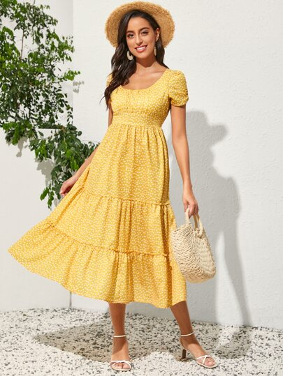 Ditsy Floral Frill Trim A-line Dress