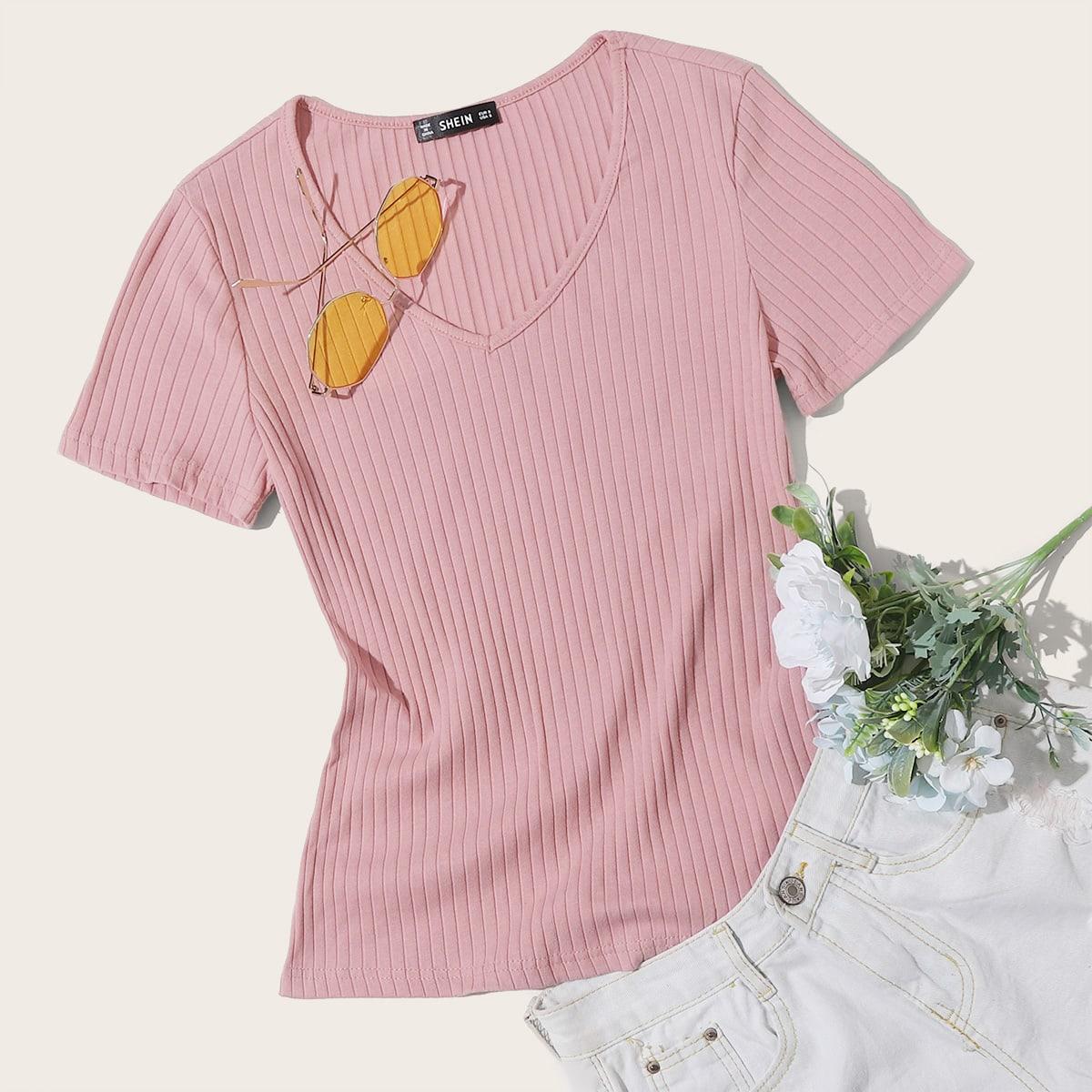 Roze  Casual Vlak T-shirt Geplisseerde