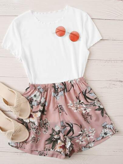 Lettuce Trim Tee With Floral Shorts