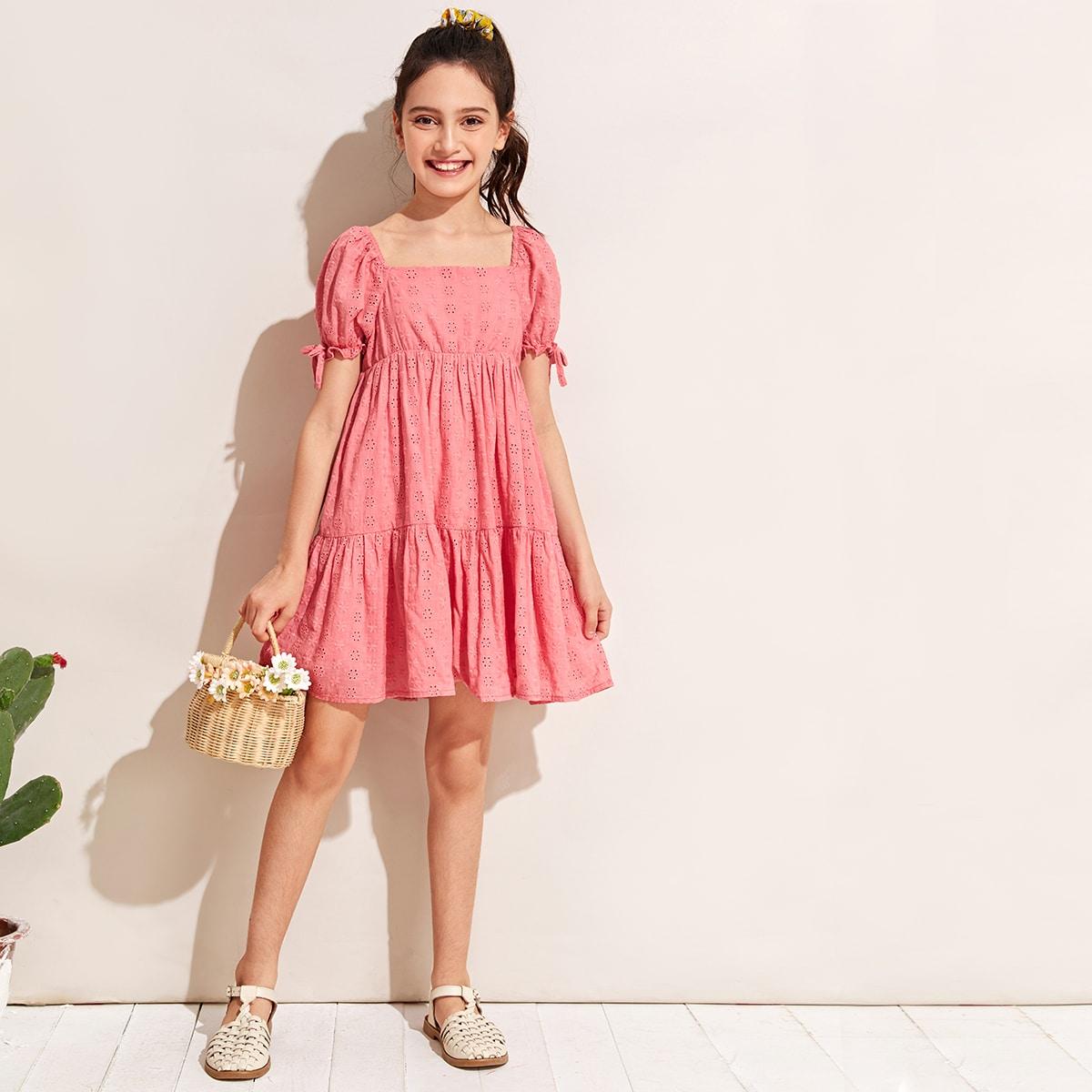 Платье с пышными рукавами и пуговицами сзади для девочек