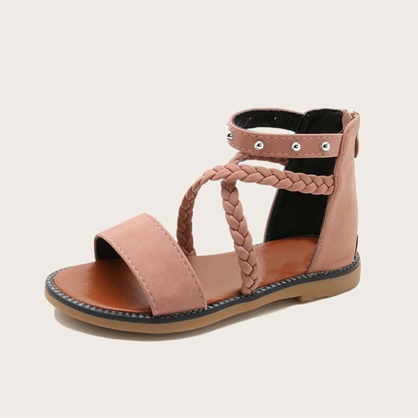 Girls Studded Decor Braided Cross Strap Sandals, Brown