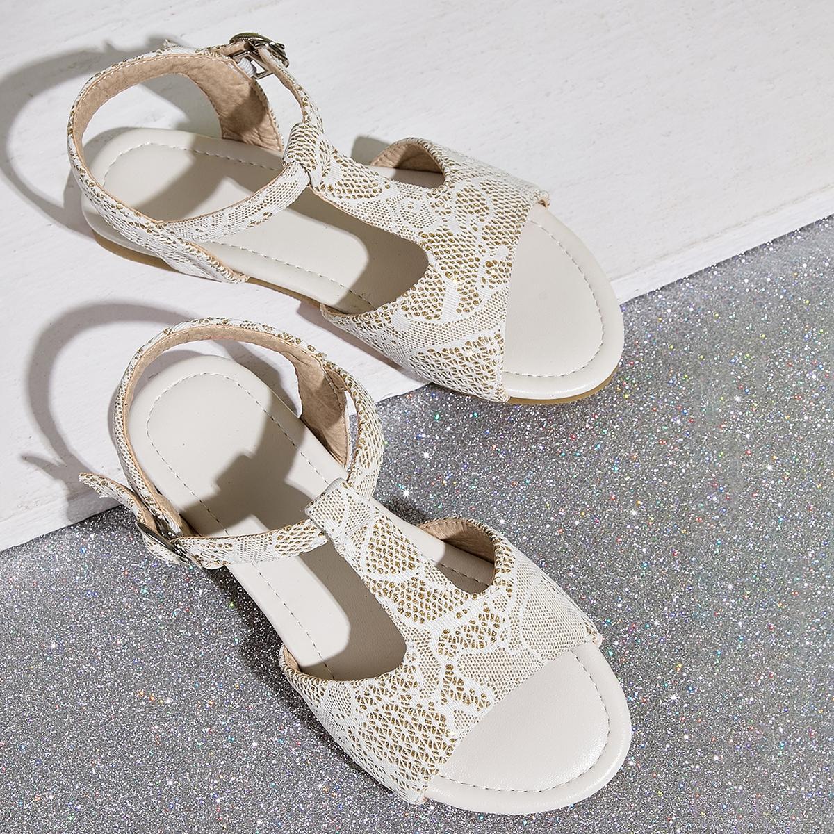 Кружевные сандалии с t-образным ремешком для девочек