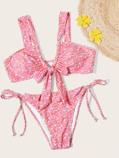 Allover Graphic Knot Front Tie Side Bikini Swimsuit