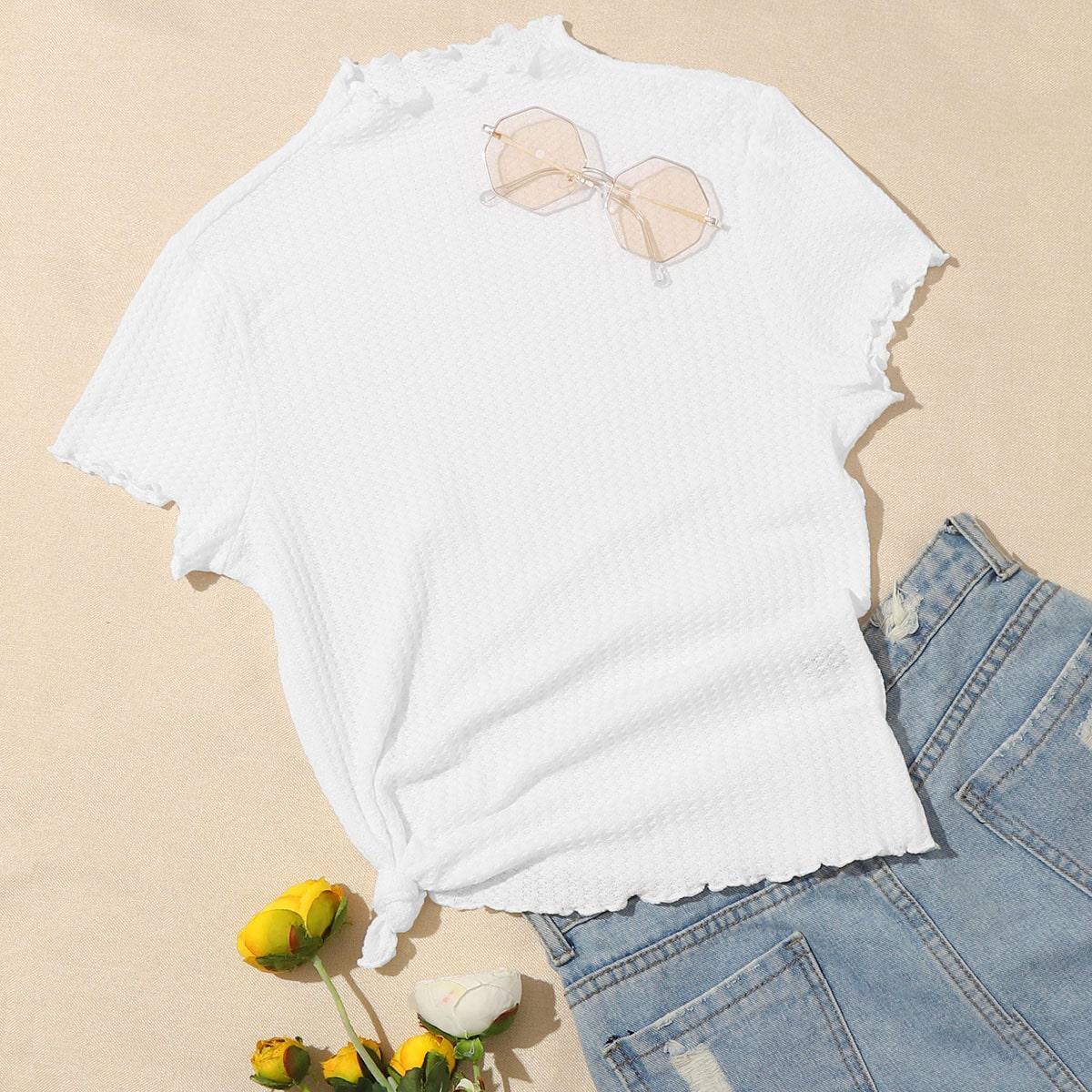 Wit Casual Vlak T-shirt Lettuce trim