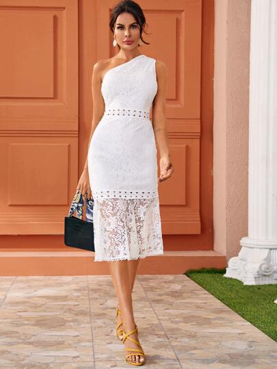 One Shoulder Guipure Lace Fitted Dress