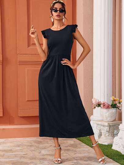 Solid Frill Trim Zip Back Long Dress
