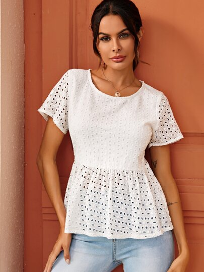 Solid Eyelet Embroidery Peplum Blouse