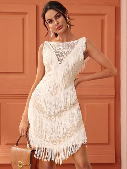 Embroidery Mesh Layered Fringe Backless Dress