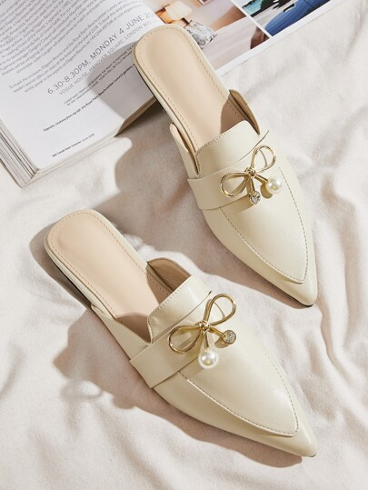 Bow Decor Loafer Mules