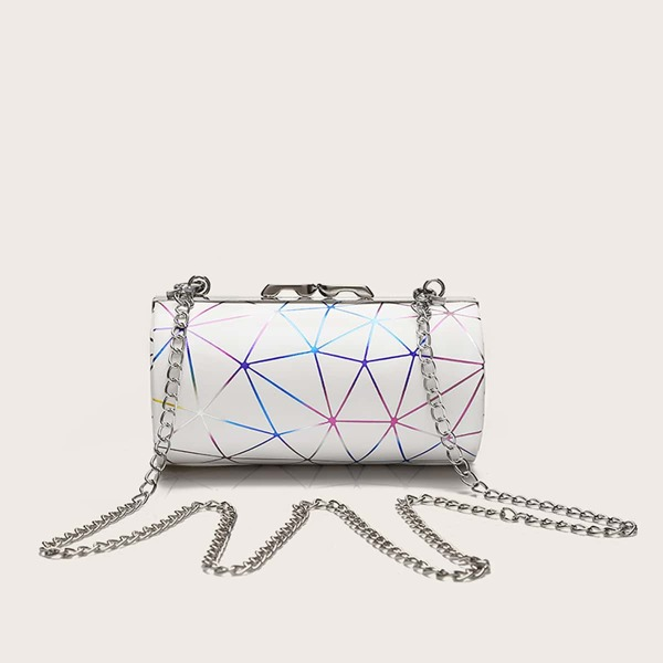 Geo Graphic Chain Crossbody Bag, White