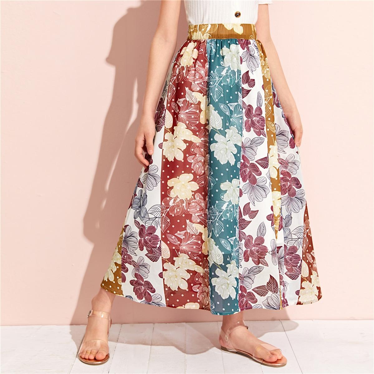 Цветочная юбка с эластичной талией для девочек