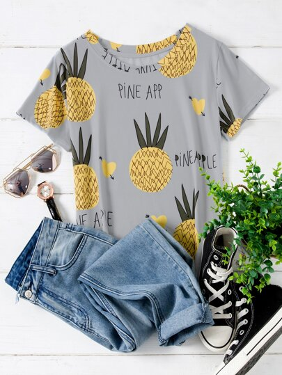 Plus Pineapple & Letter Graphic Tee