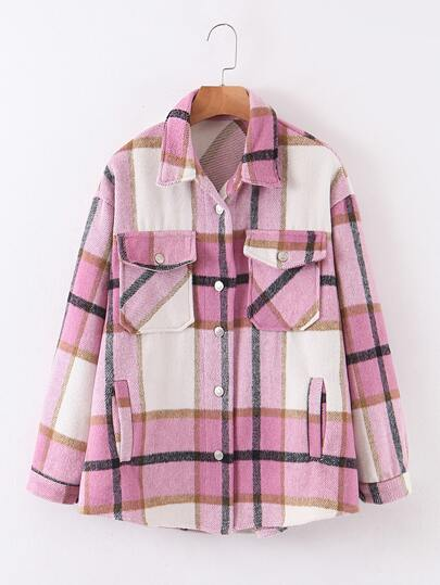 Plaid Flap Pocket Button Up Trucker Coat