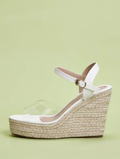 Ankle Strap Clear Espadrille Wedges
