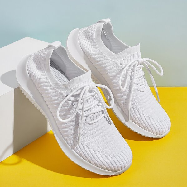 Lace-up Front Textured Wide Fit Sneakers, White
