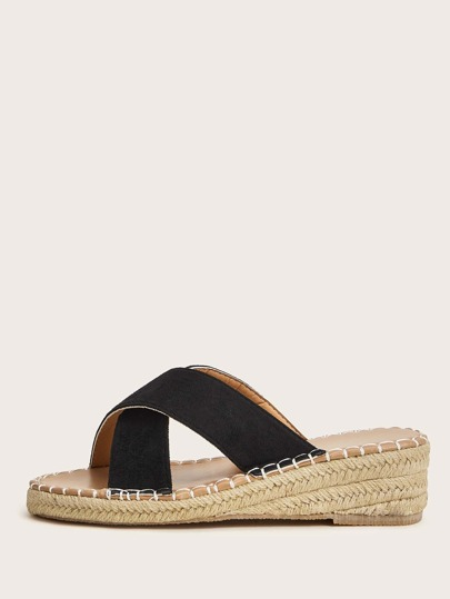 Cross Strap Espadrille Wedge Mules