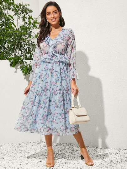 Allover Floral Layered Ruffle Chiffon A-line Dress