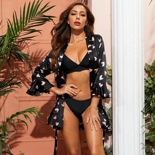 Heart Print Belted Satin Robe, Black