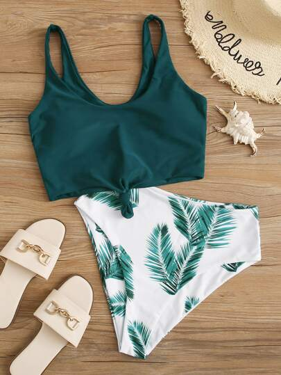 Tropical Knot Front Bikini Swimsuit