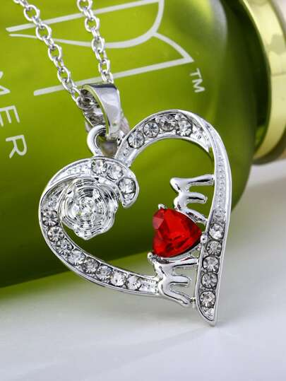 1pc Mothers Day Rhinestone Engraved Heart Charm Necklace