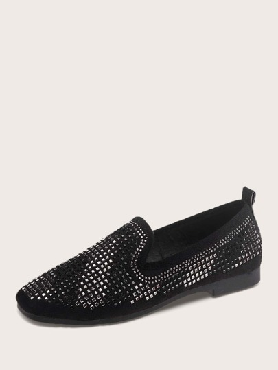 Rhinestone Decor Slip On Loafers
