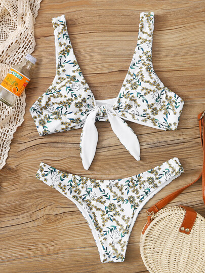 Floral Knot Front Cheeky Bikini Swimsuit