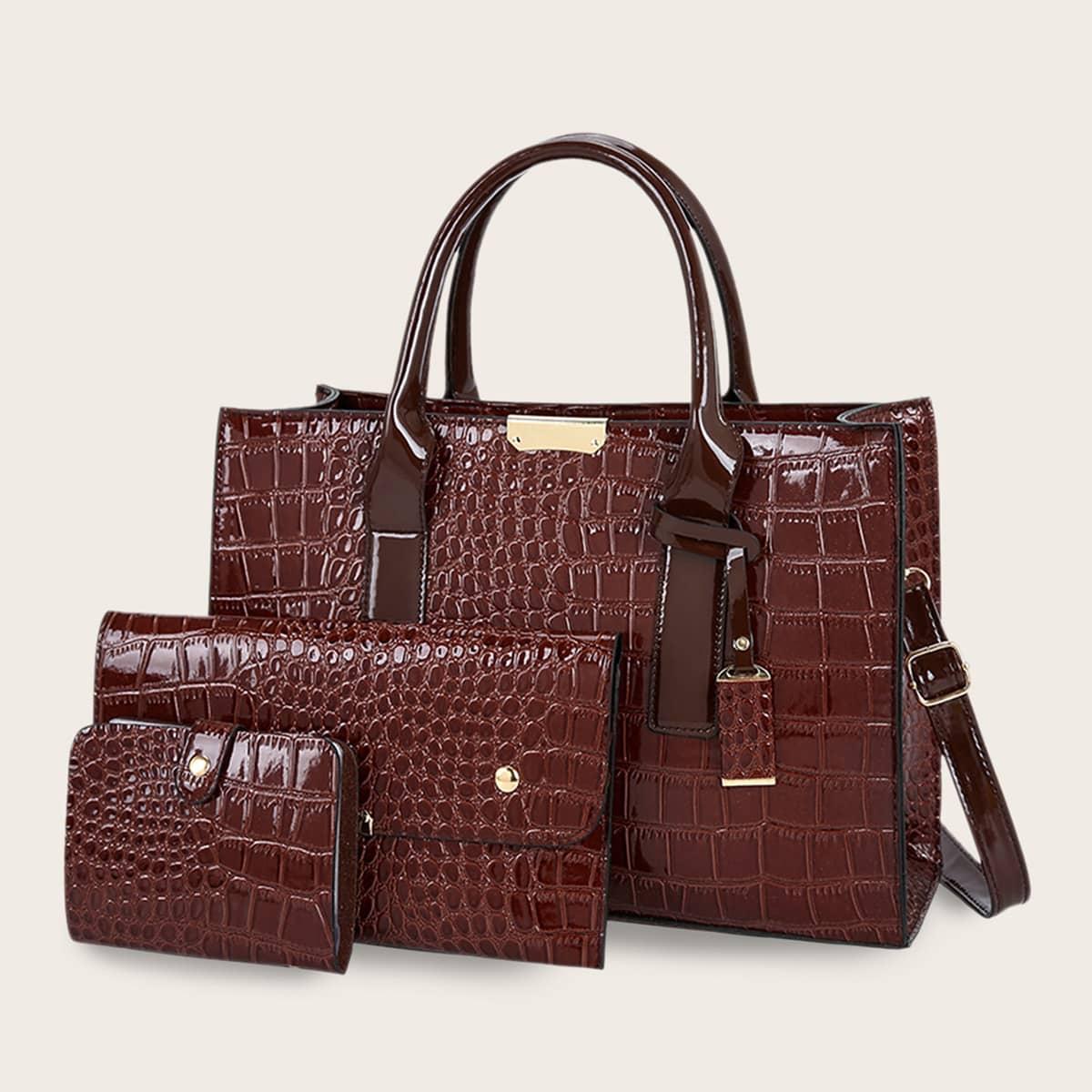 Рельефная сумка-сэтчел и кошелек 3шт