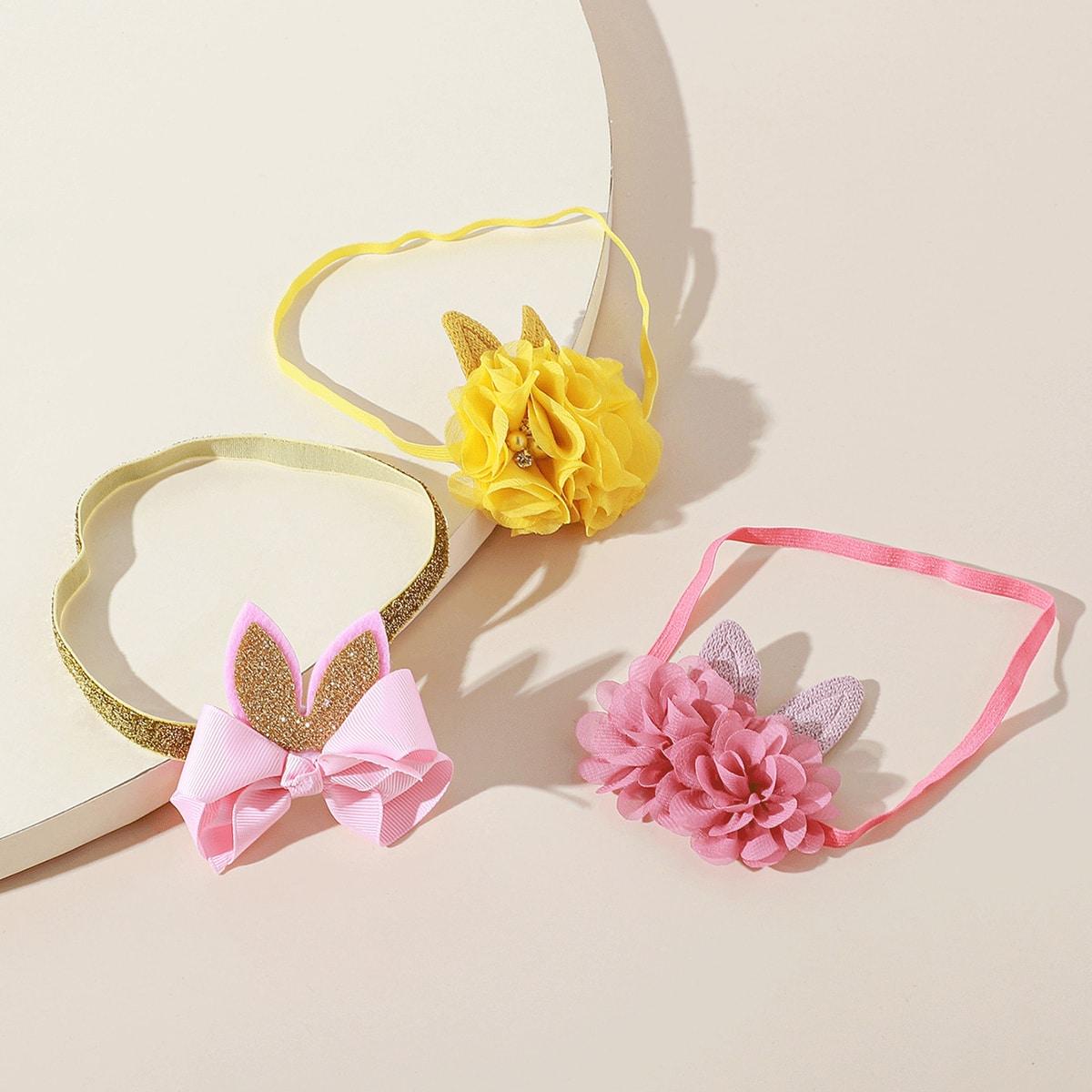 3 Stücke Baby Blumen & Ohr Decor Stirnband