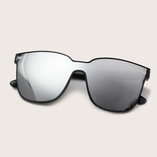 Flat Top Shield Sunglasses with case, Silver