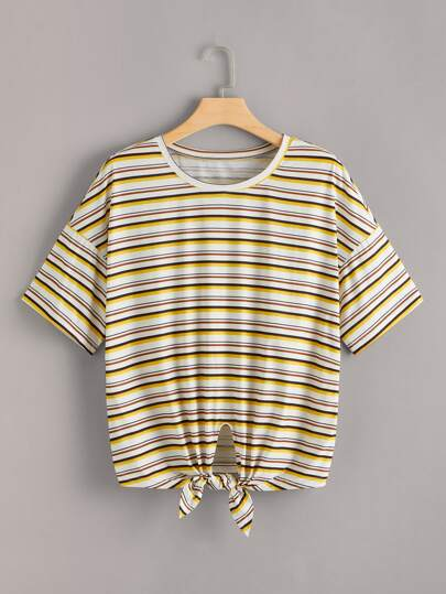 Plus Striped Knot Front Tee