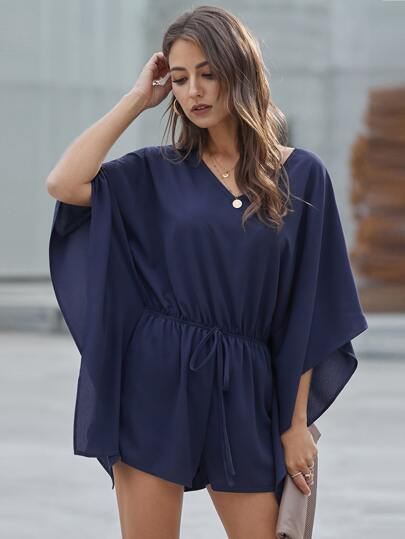 Solid Drawstring Waist Batwing Sleeve Romper