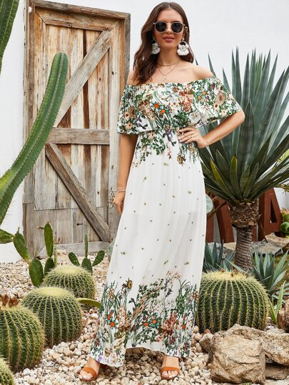 Plants Print Bardot Ruffle Maxi Dress