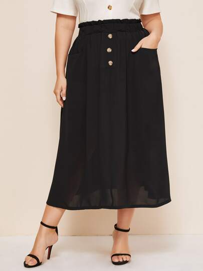 Plus Paperbag Waist Double Pockets A-line Skirt