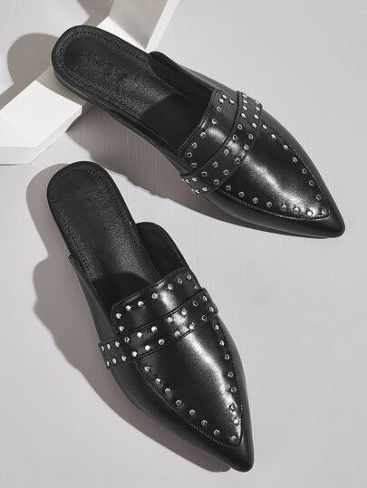 Studded Decor Point Toe Flat Mules