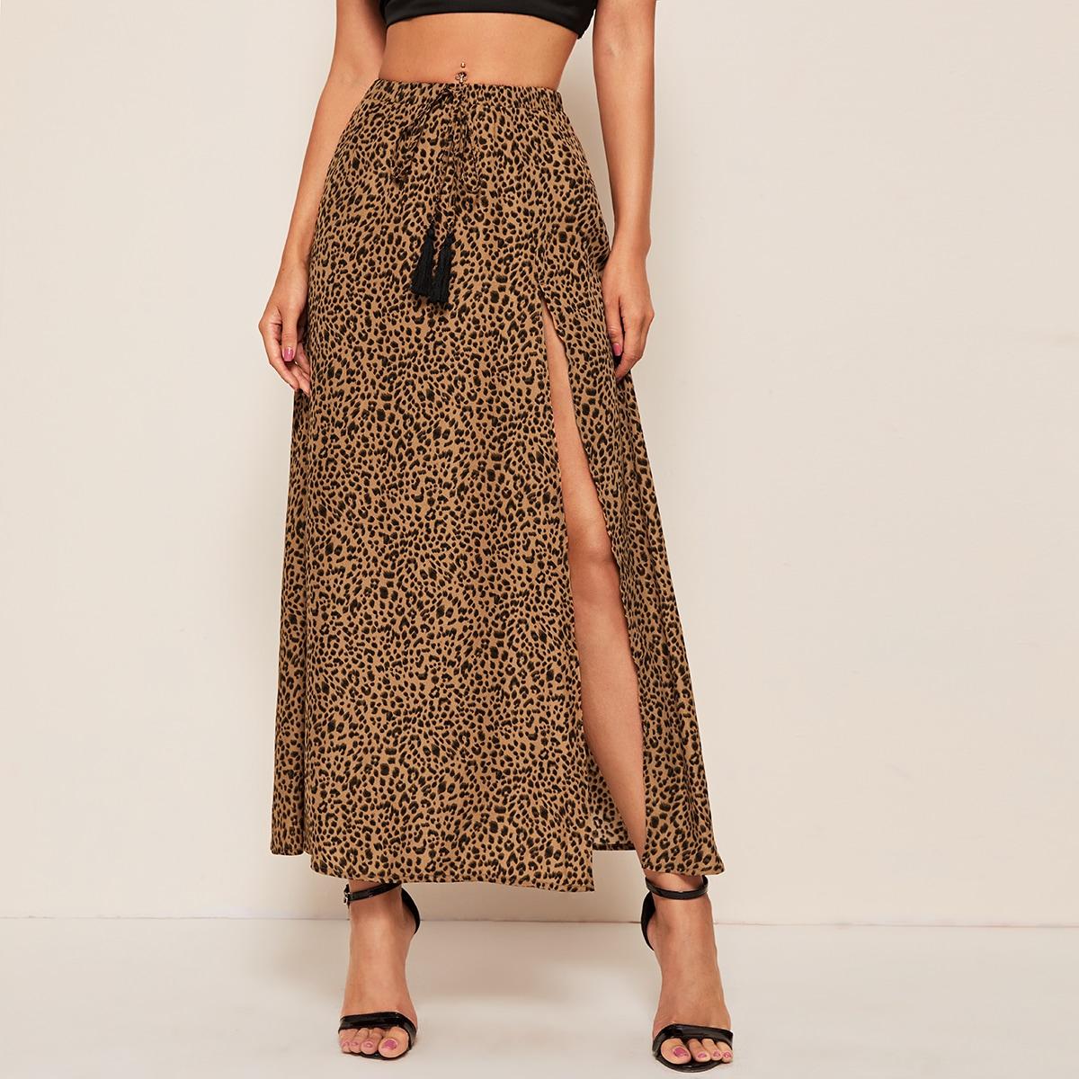Леопардовая юбка с разрезом