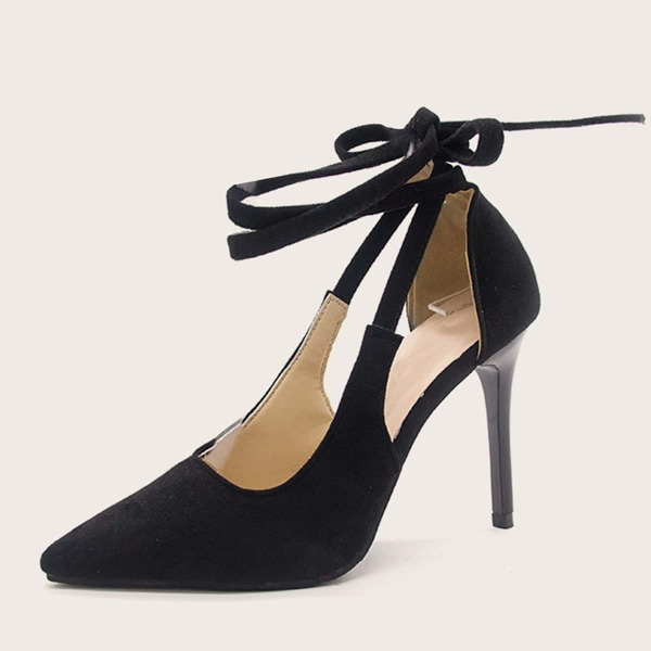 Point Toe Tie Leg Stiletto Heels, Black