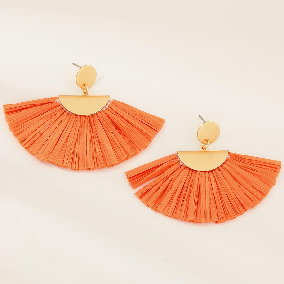 1pair Fan Tassel Drop Earrings, SHEIN  - buy with discount