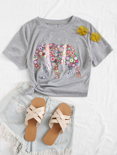 Floral And Elephant Print Tee
