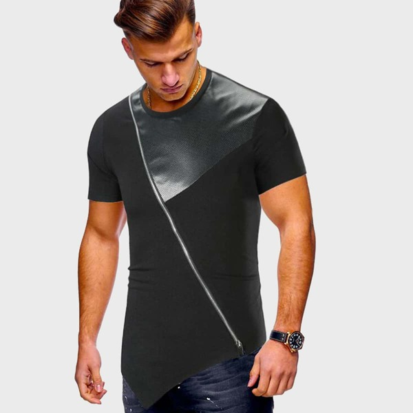 Men PU Panel Diagonal Zipper Asymmetrical Tee, Black