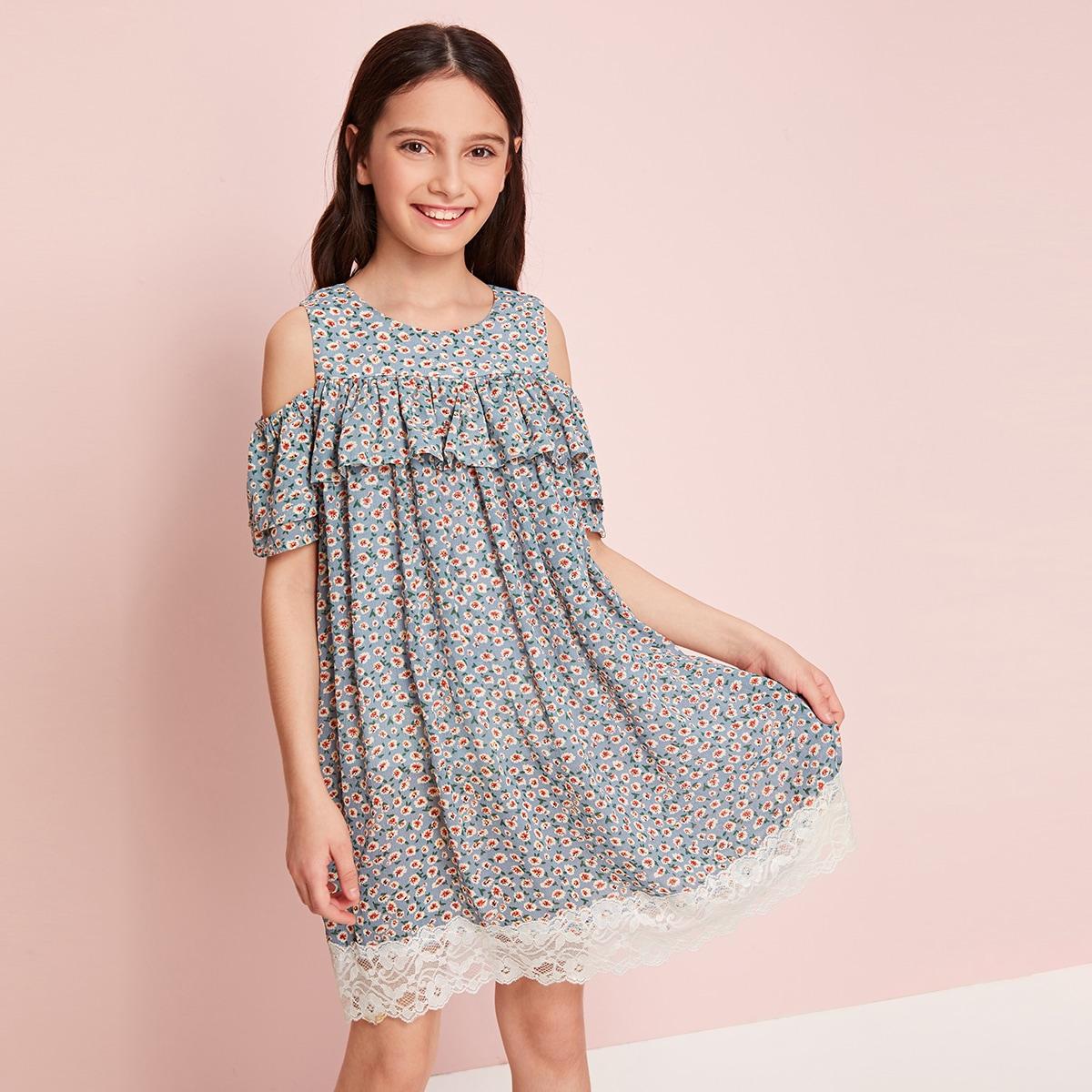 Цветочное шифоновое платье с разрезом на плечах и кружевом для девочек