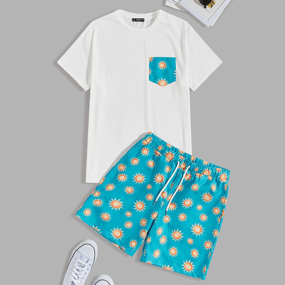 """Мужские футболка и шорты с принтом """"солнце"""