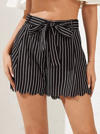 Scallop Trim Striped Belted Shorts