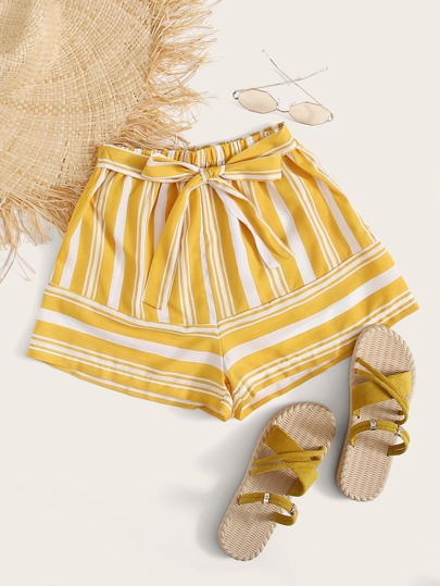 Striped Elastic Waist Belted Shorts