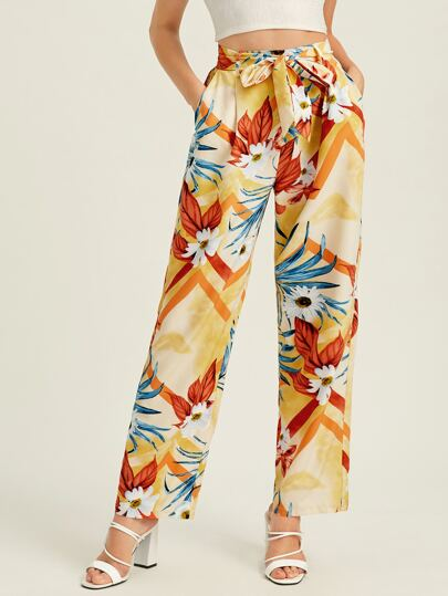 Floral Print Belted Pants