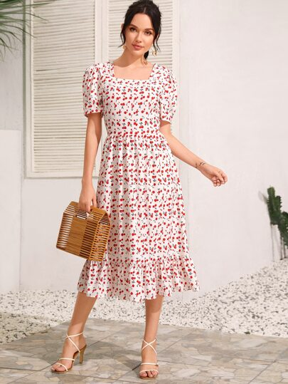 Square Neck Cherry Print Ruffle Hem A-line Dress