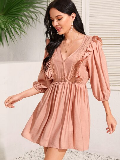 Ruffle Trim Bishop Sleeve A-line Dress