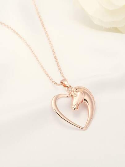 1pc Heart & Horse Charm Necklace