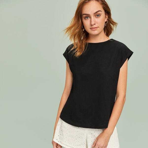 Cap Sleeve Curved Hem Solid Top, Black