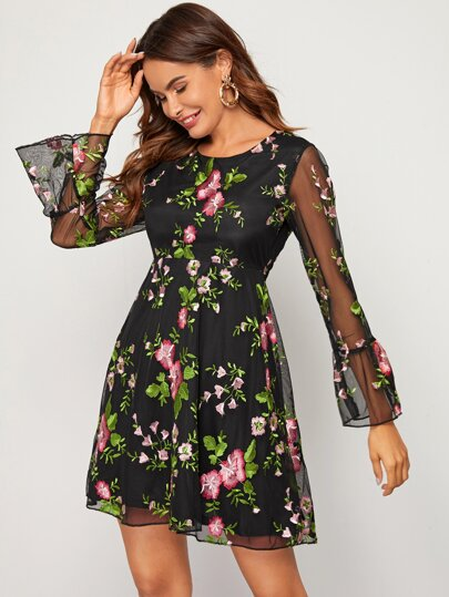 Floral Embroidered Mesh Overlay Dress